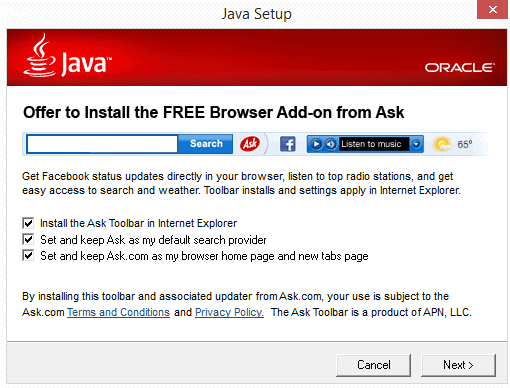 java ask toolbar installation