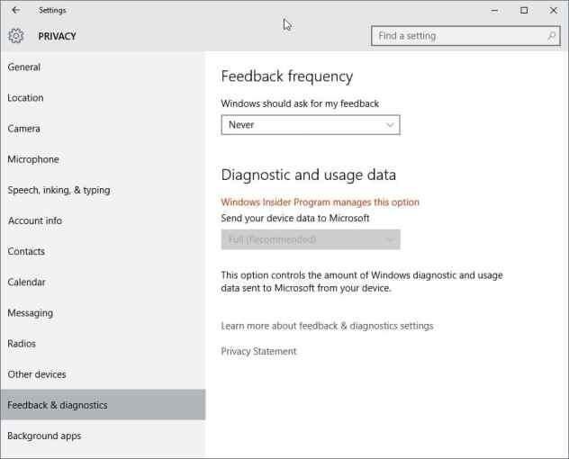 feedback diagnostics