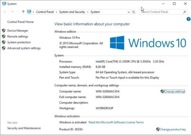 windows 10 control panel system activation