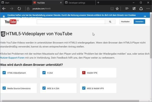 microsoft edge html5 youtube