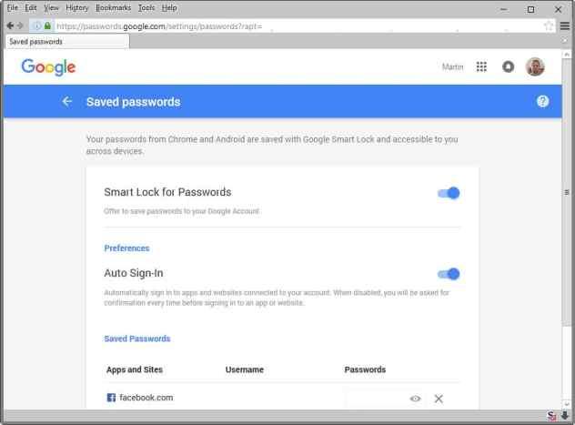 google saved passwords