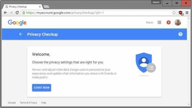 Google privacy checkup