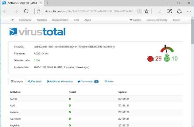 virustotal firmware scan