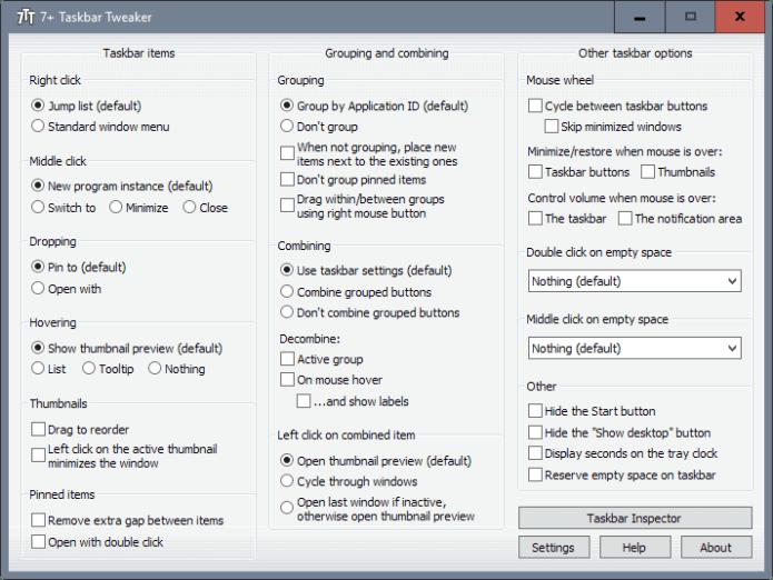 tweak windows 10 taskbar