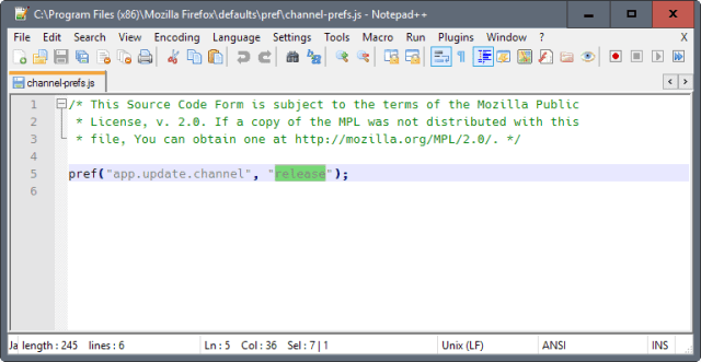 firefox stable to esr