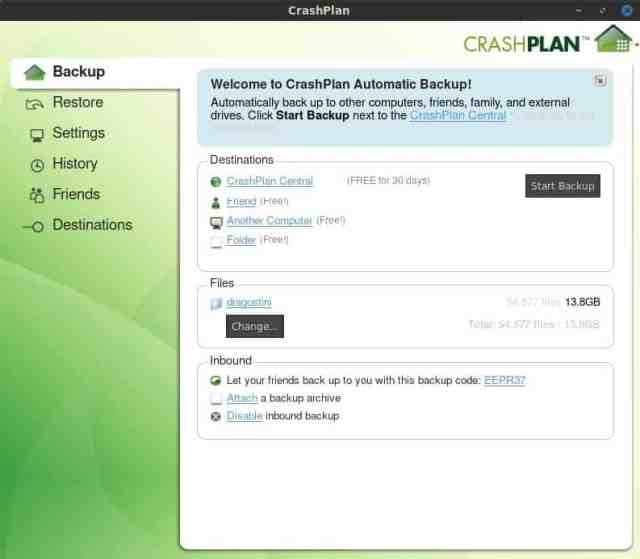 CrashPlan Home Screen
