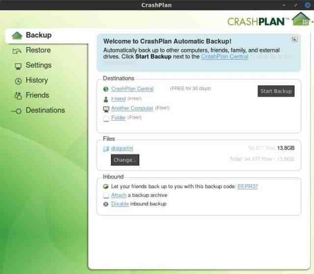 CrashPlan Home Screen