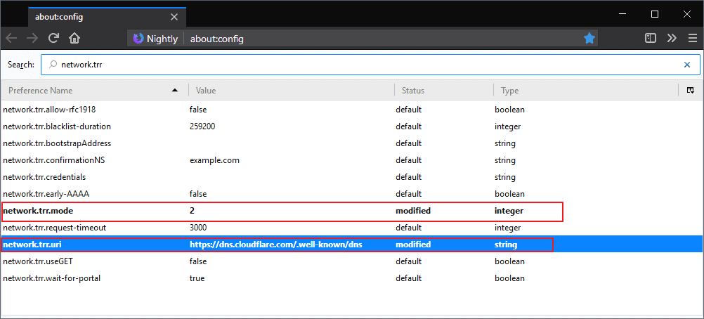 firefox network trr dns over https