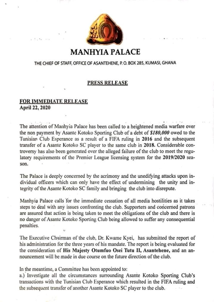 Statement from Manhyia