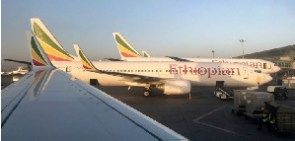 Boeing 737 is operated by Ethiopian Airlines at Bole International Airport in Addis Ababa
