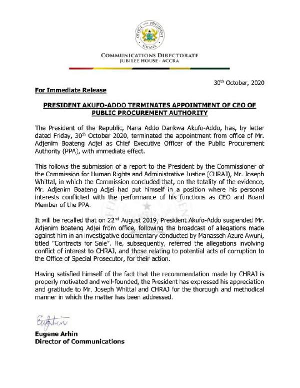 Akufo-Addo sacks PPA boss 2