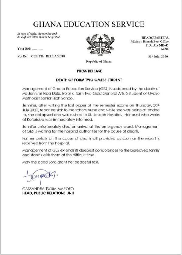 GES remorses statement