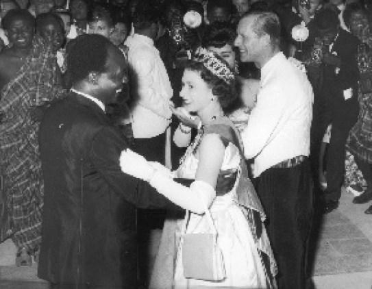 Kwame Nkrumah dancing with Queen Elizabeth during her visit in 1961