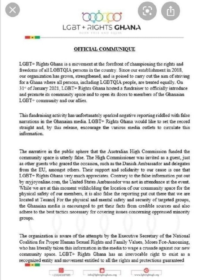 JUST IN: Lesbian, Gay, Bisexual and Transgender Office In Ghana Issues Wild Statement To All Ghanaians -[CHECK OUT FULL STATEMENT] 2
