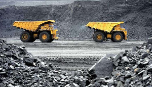 File photo of trucks in a mine