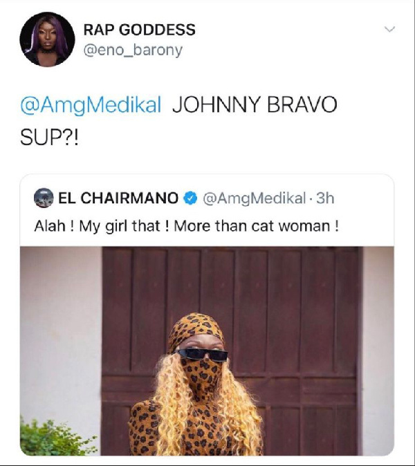 Eno Barony replies Medikal after he called her a 'cat' 2