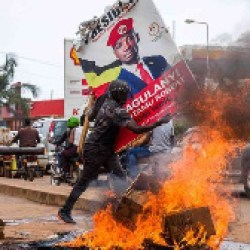 Seven people died and at least 45 were injured in protests that erupted after police arrested Ugandan presidential candidate and pop star Bobi Wine on Wednesday, Ugandan police said