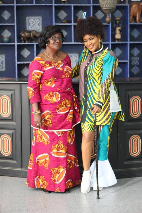 Terry Bonchaka's mother, Mrs Charlotte Adjetey and his sister Shatana