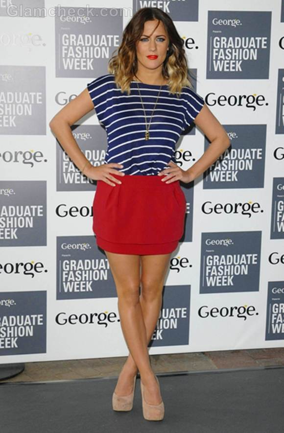 Caroline Flack Sexy In Nautical Outfit At Graduate Fashion