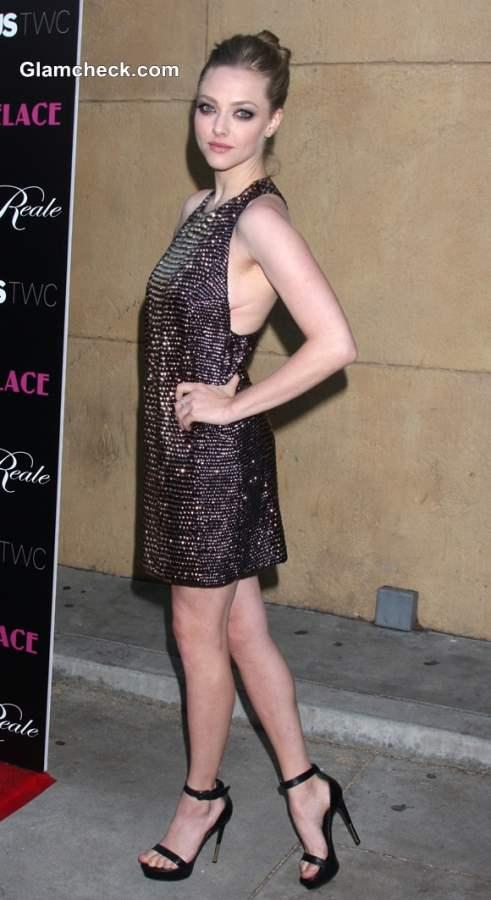 Amanda Seyfried In Beaded Halter Dress At Lovelace LA