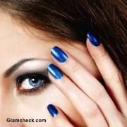 blue nail art - shades of