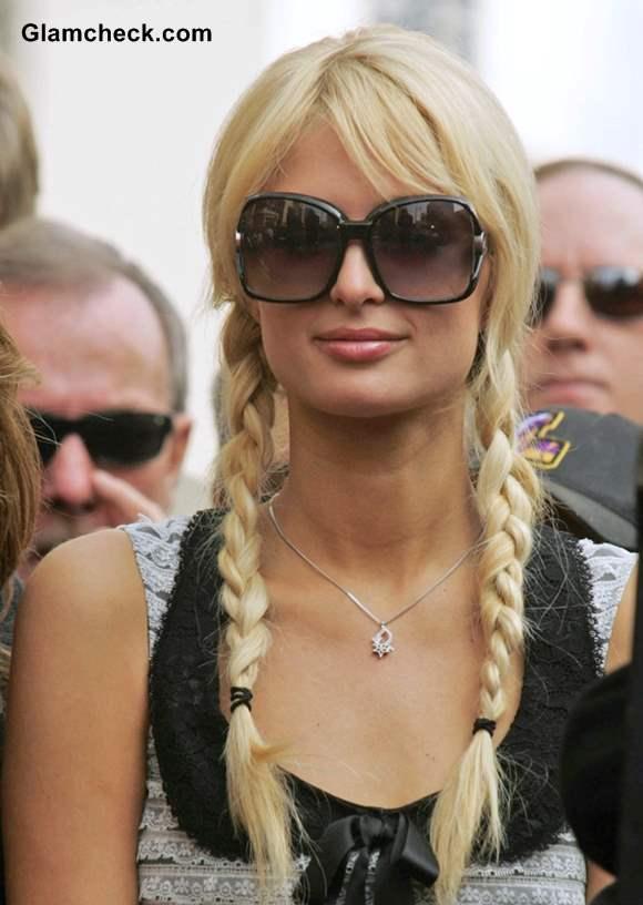 Paris Hilton Sports Cutesy Pigtails