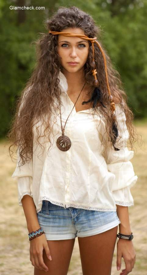 White Top With Denim Shorts Get The Boho Chic Style