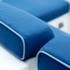 Recovering Chair Cushions Vinyl Dildo Office Marine Upholstery Fabrics Sunbrella Detail Of Blue With Light Piping On Boat Seat