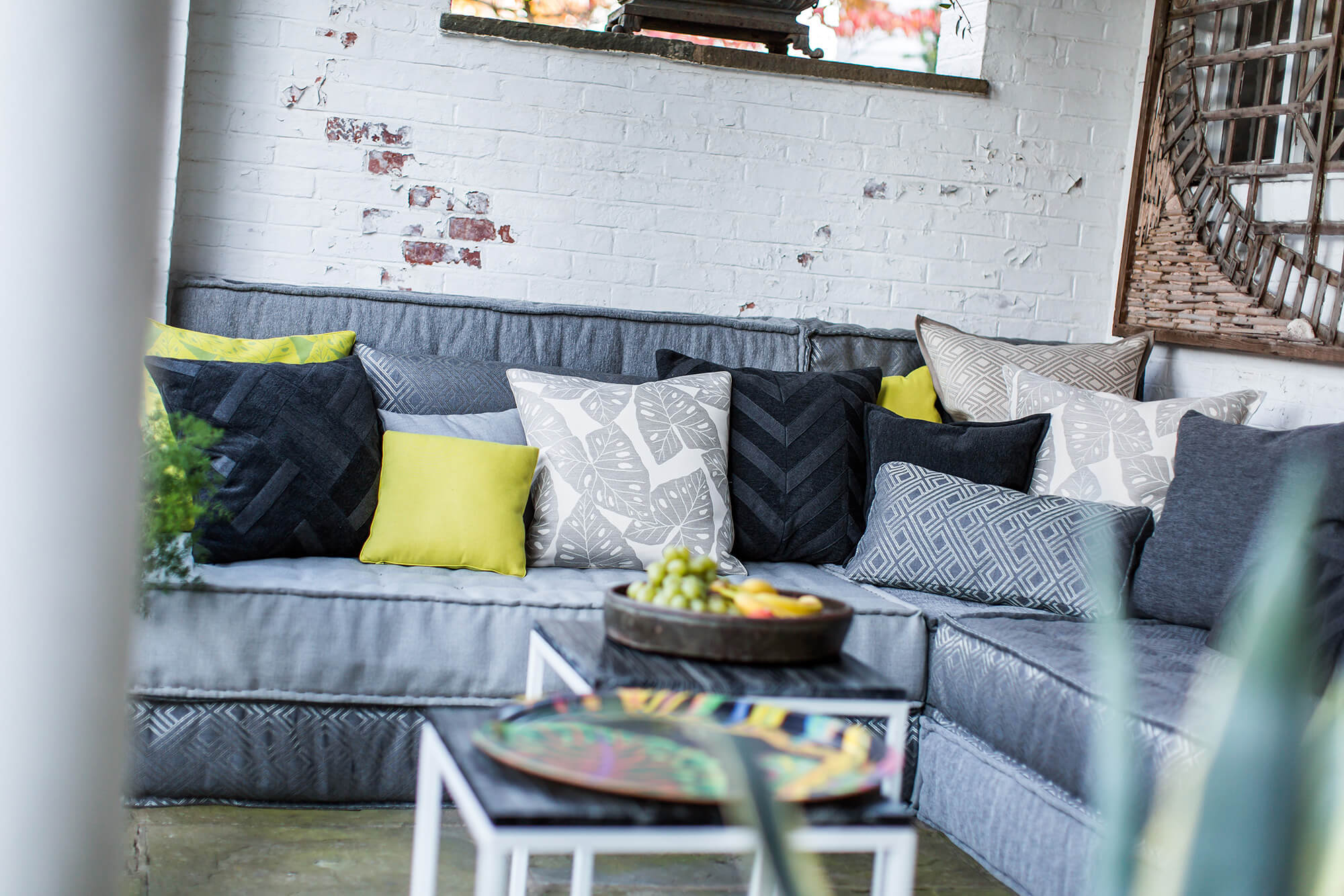 green cushions living room furniture with good back support fabrics for the home indoor outdoor sunbrella sofa grey covered in many pillows and some to add