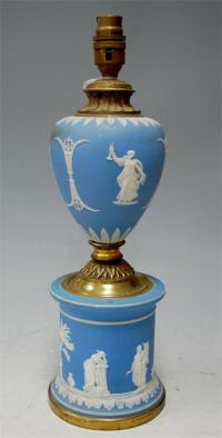 An early 20th century Wedgwood style blue jasper ware