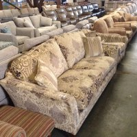 GREEN PATTERNED 3 SEATER SOFA AND GREEN PATTERNED STRIPED ...