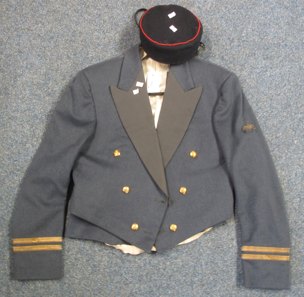 RAF officers mess jacket with backless waistcoat and RAF pilot officers cadet cap. Made by Moss b