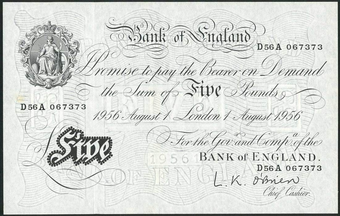 Bank of England, L K O'Brien, £5, 1 August 1956, serial