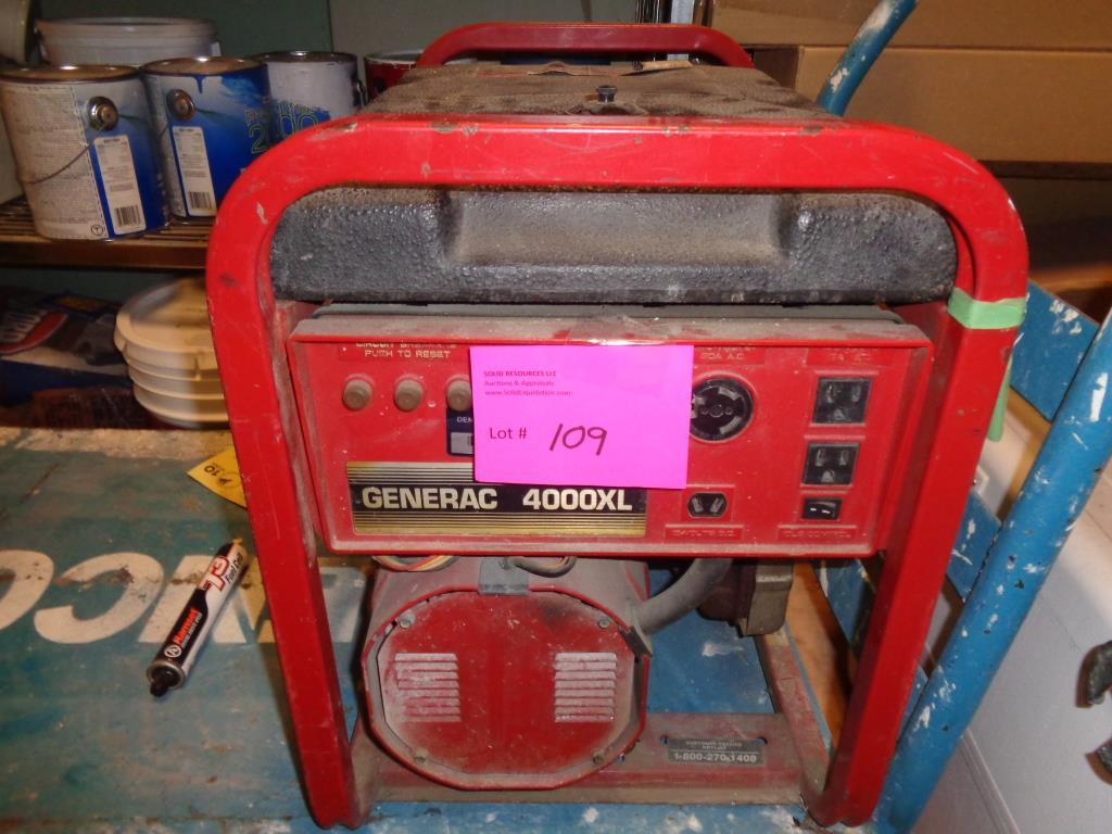 hight resolution of lot 109 generac model 4000xl gas powered generator model 09777 1 120