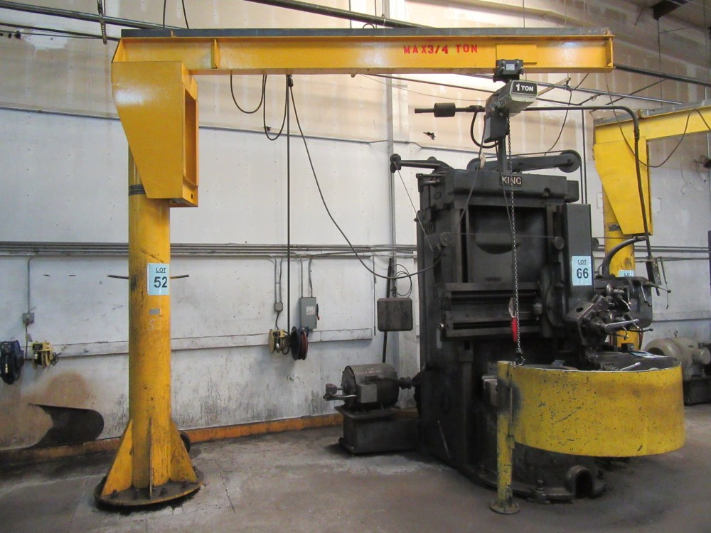 medium resolution of lot 52 3 4 ton floor mounted jib crane with coffing 1 ton electric