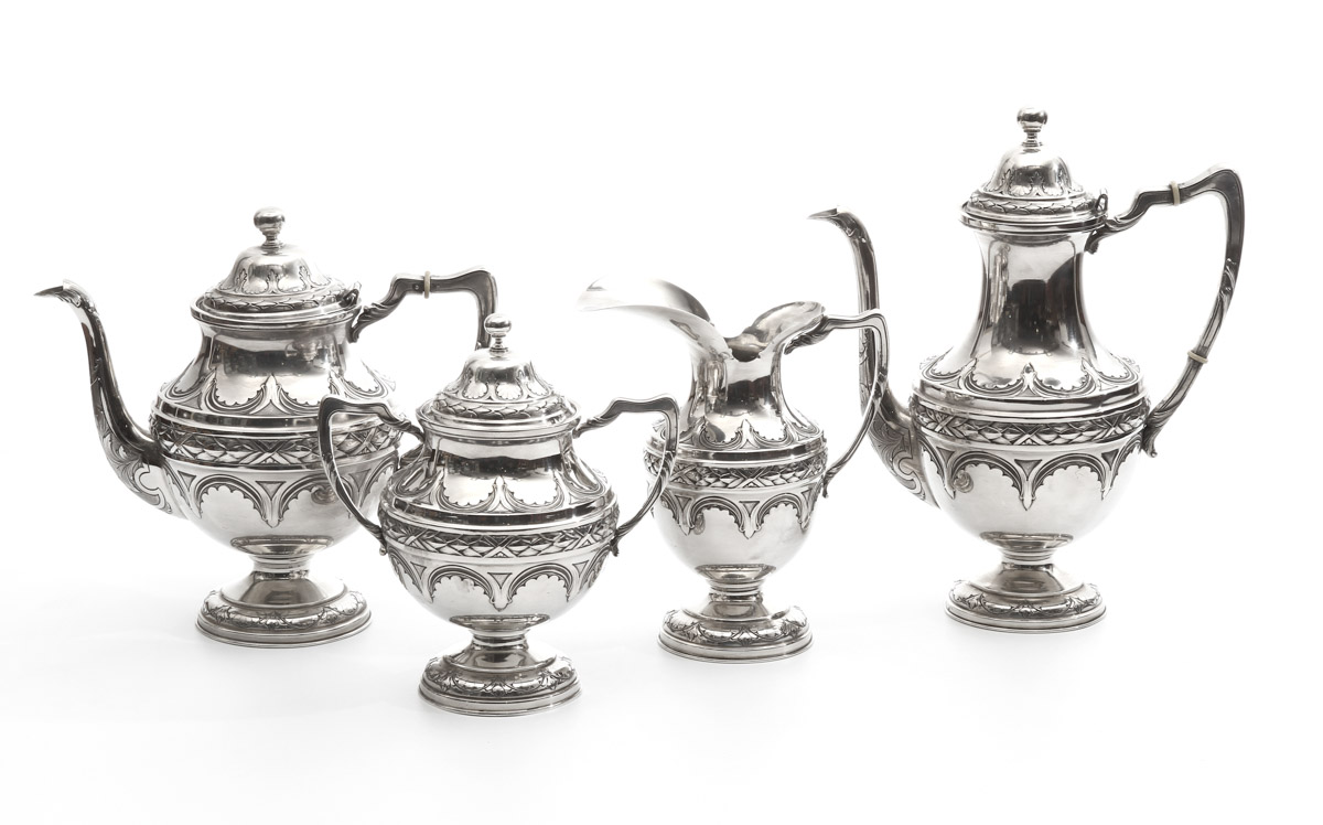 TEA AND COFFEE SET in Portuguese silver, Boar assay marks