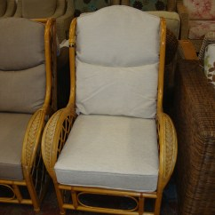 High Back Wicker Chair Cushions Revolving At Cheapest Rate Pair Of Matching Armchairs Nb Both