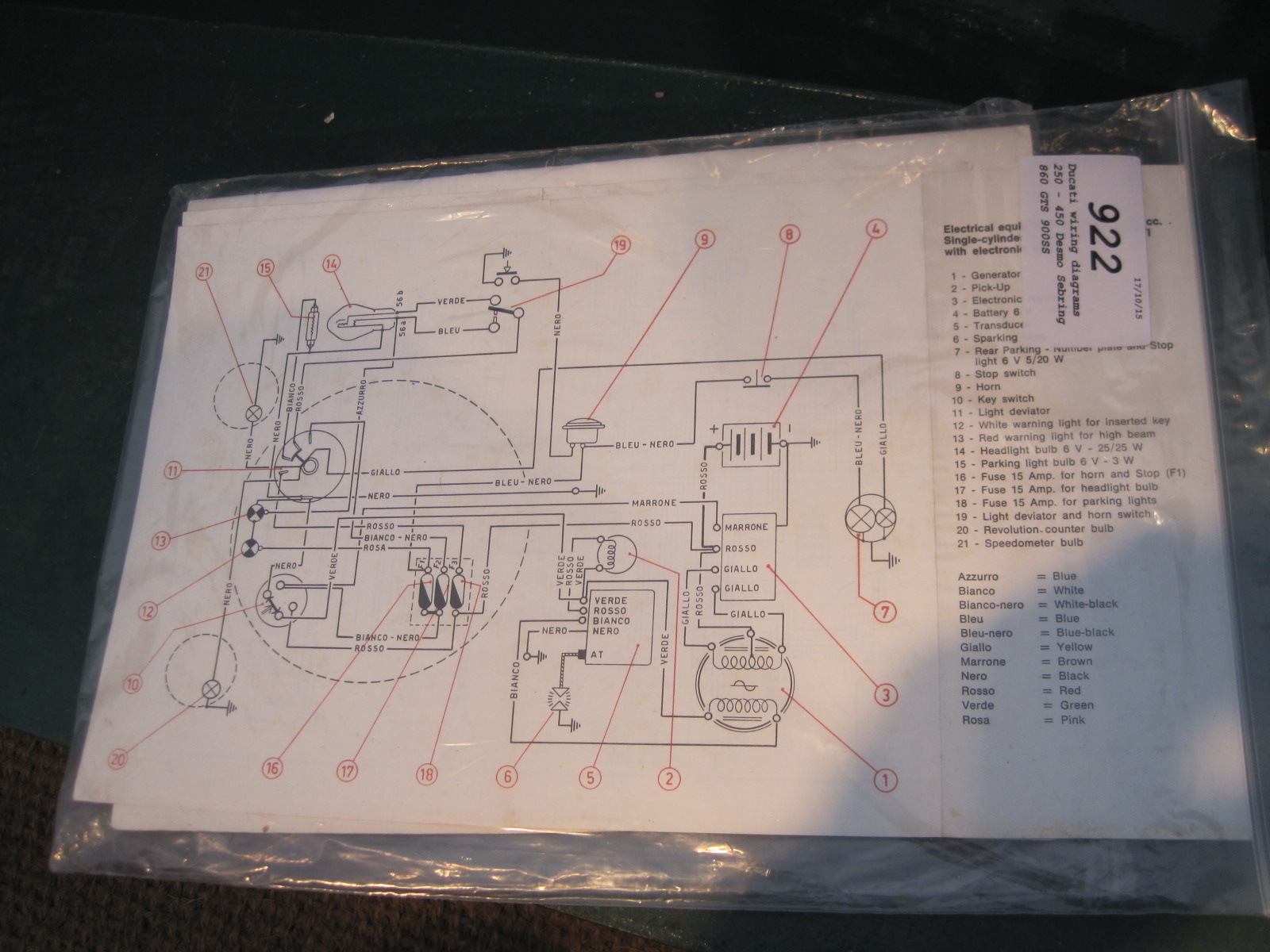 hight resolution of lot 922 ducati wiring diagrams 250 450 desmo sebring 860 gts 900ss