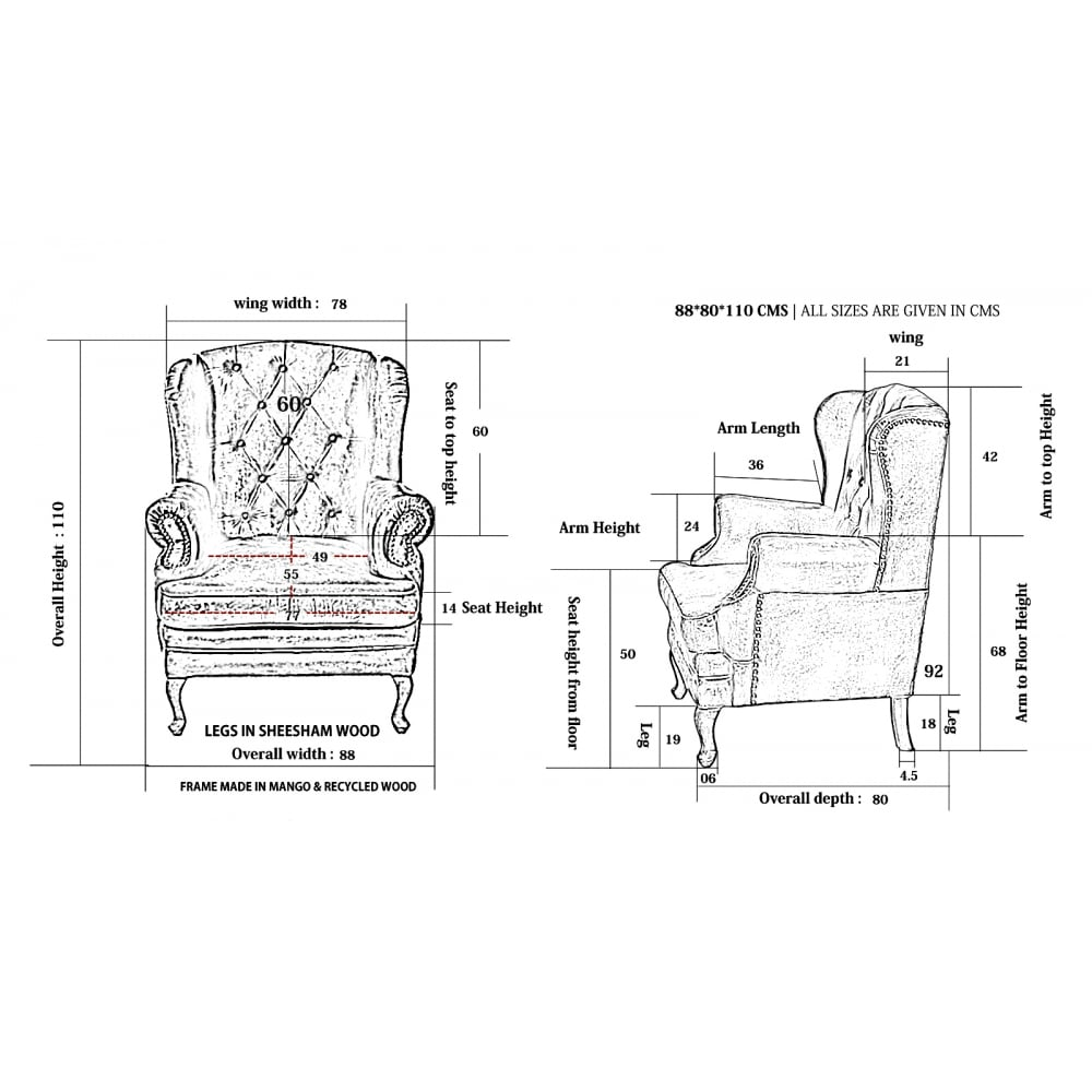 Piccadilly Chesterfield Wingback Leather Armchair In Tan