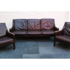 Borge Mogensen Sofa Model 2209 Lether A B 248 Rge Danish Design Brown Leather Three Seater And Two Armchairs Of