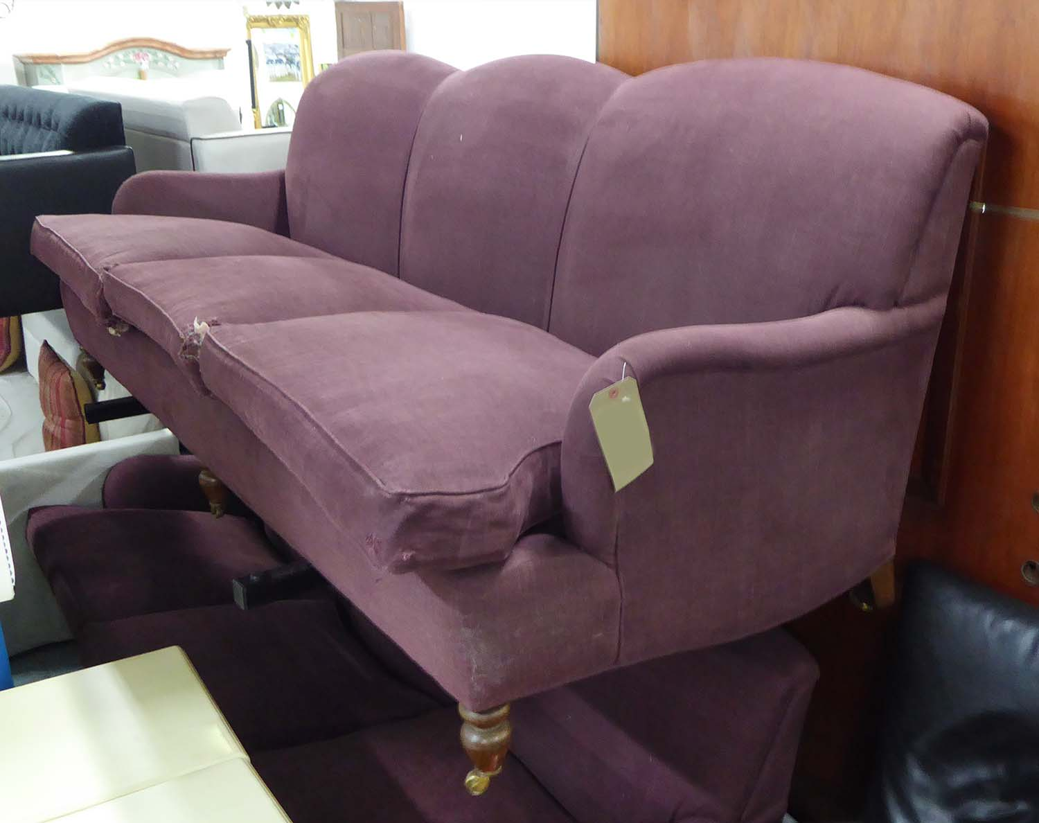 kingcome sofa sale luxury modern rattan outdoor barbados in aubergine coloured fabric howard style