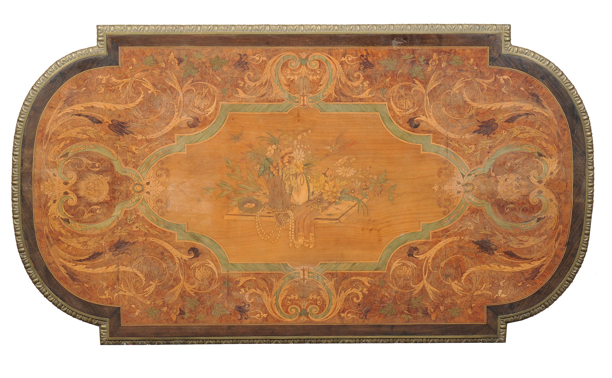 A French amboyna, specimen marquetry and green stained sycamore bureau plat, in Louis XVI style,