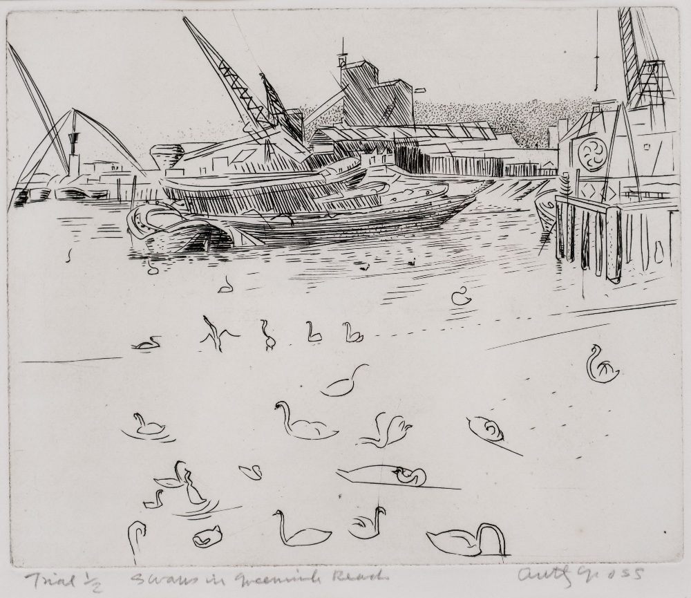 Anthony Gross (1905-1984) 'Swans in Greenwich Reach' trial
