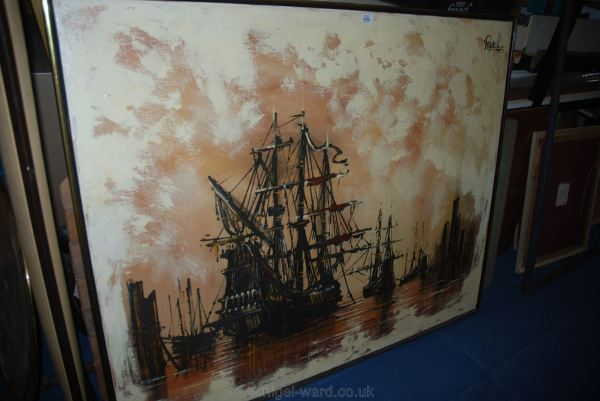 Oil Painting Lee Reynolds Depicting Tall Ships. 40