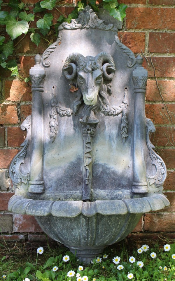 Cast Lead Wall Fountain With Bowl Beneath