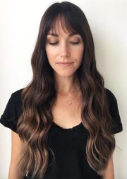 long haircuts with bangs