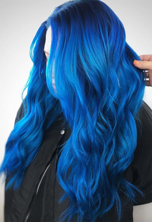 65 iridescent blue hair