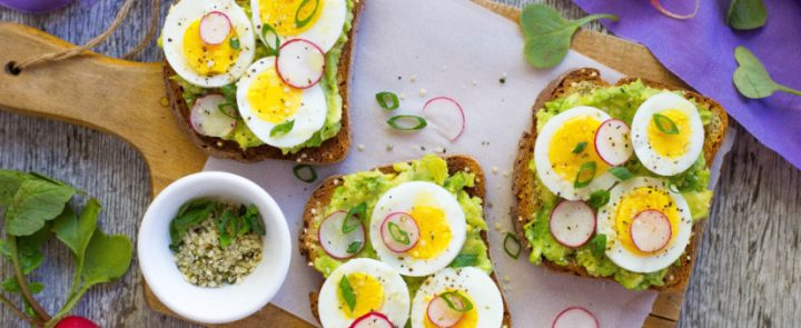 Avocado toast and hard boiled egg