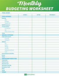 Worksheet For Creating A Budget - Livinghealthybulletin