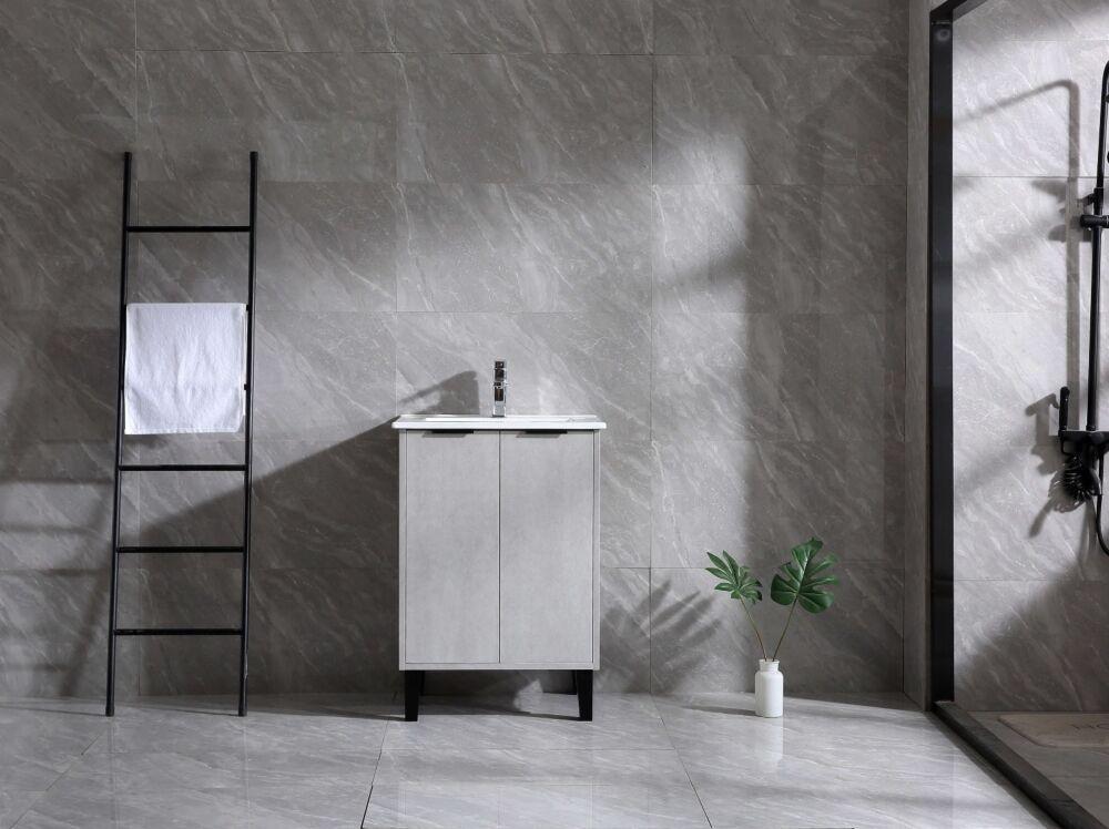 vanite de salle de bain odessa de 24 po gris avec comptoir ceramique